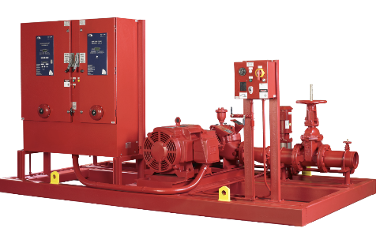 Industrial fire protection system including controls, jockey pump, electric motor and pump