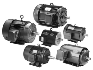 6 Black Electric Motors from 1/3 to 30 HP